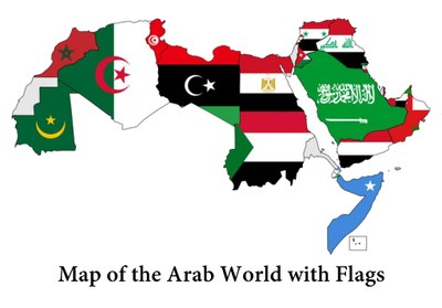 map of the arab world with flags